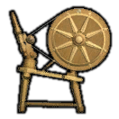 Dated Elm Spinning Wheel